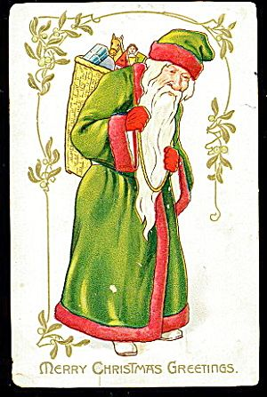 Tucks Santa Claus in Green Robe 1907 Postcard. Click on the image for more information.