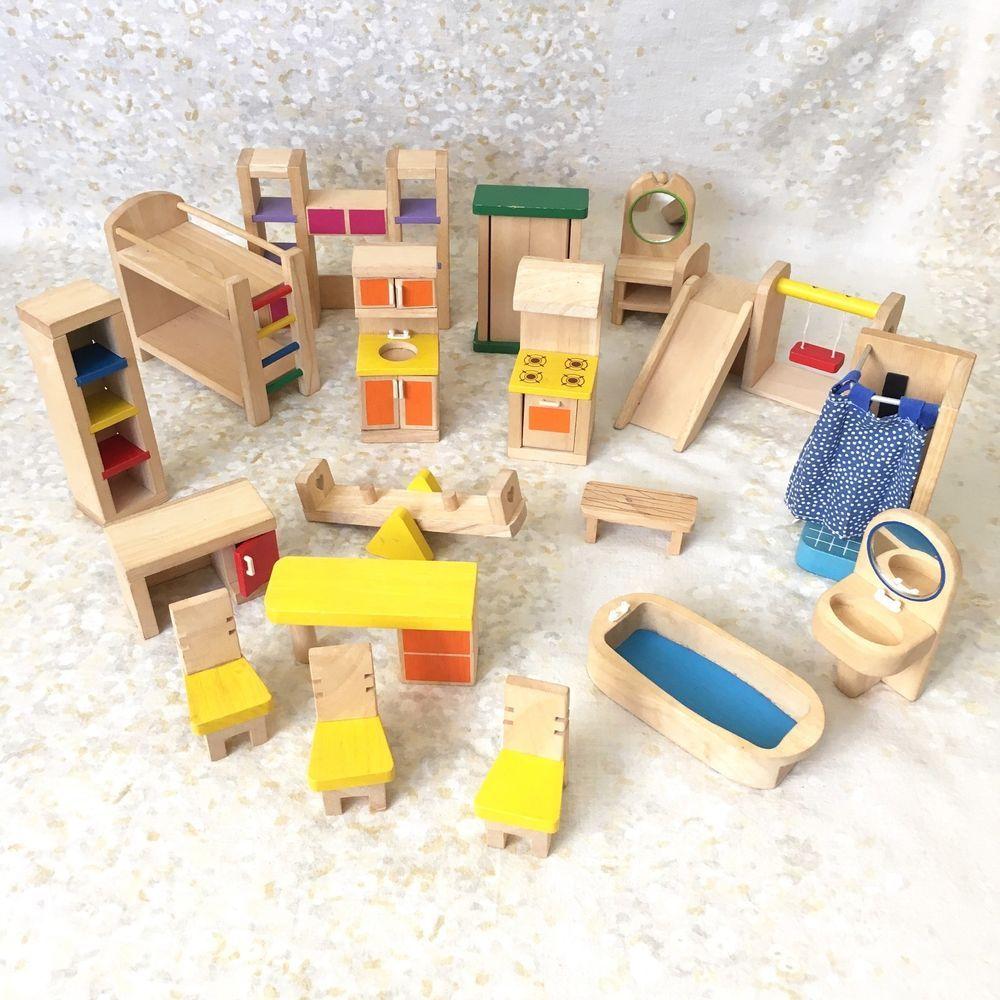 wooden toy furniture lot wood playground bathroom kitchen