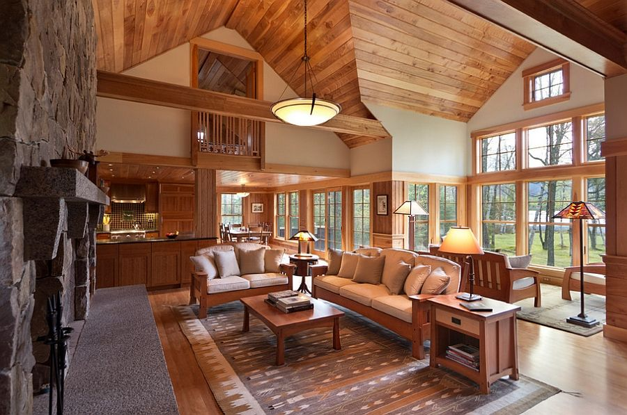 cozy cabin retreat combines warmth of wood with a bright on interior colors for lake house id=30759