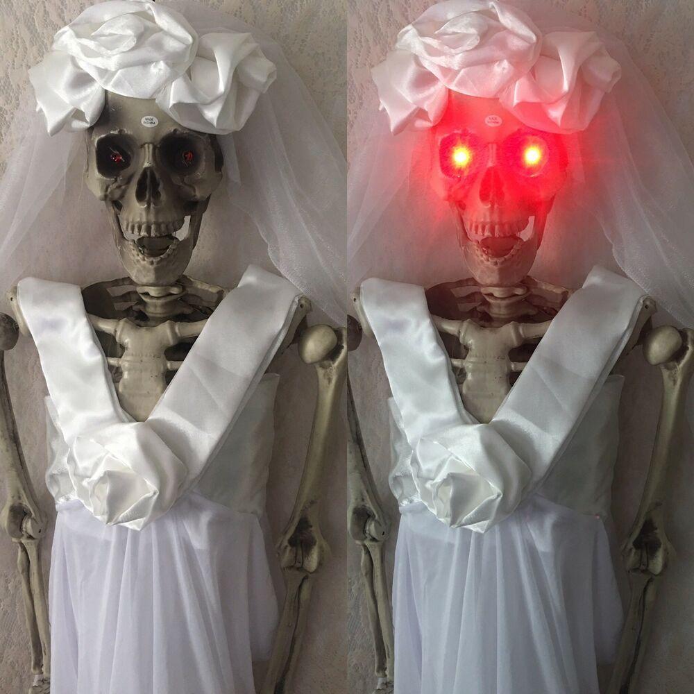 Halloween Skeleton Skull Led Eyes Realistic Skull Horror Props Decorations