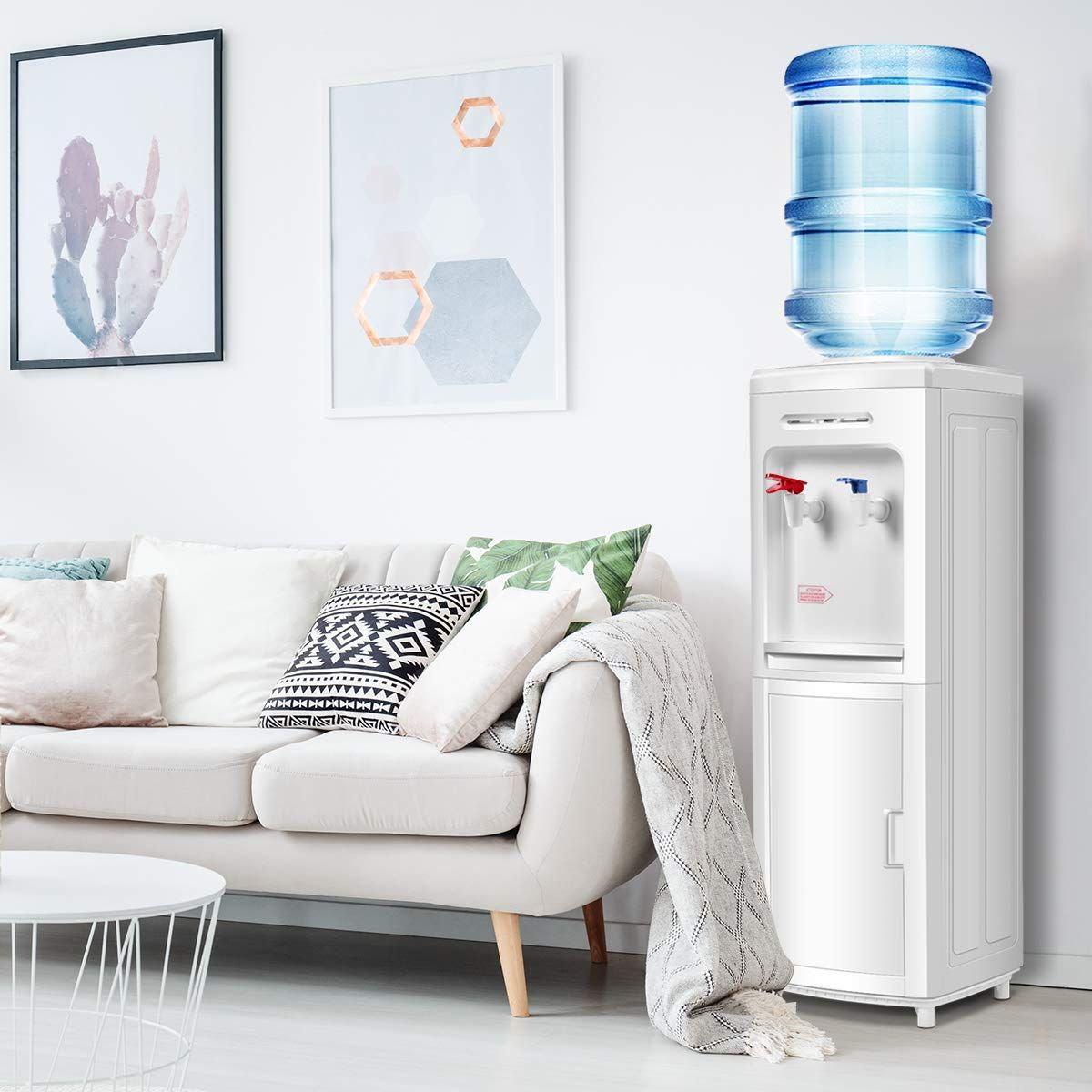 Giantex 5 Gallon Electric Top Loading Water Cooler Dispenser White With Storage Cabinet Water Dispenser Hot Water Dispensers Water Coolers