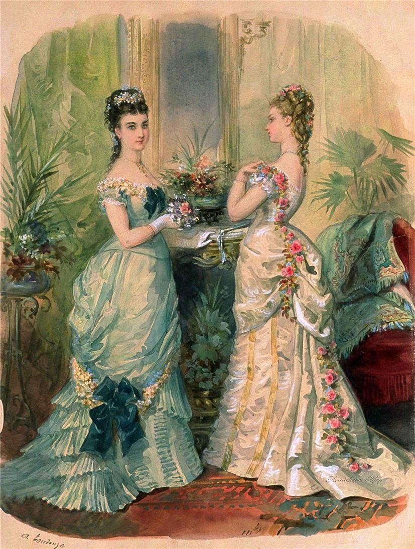 Странички модного журнала 1875 года | Акварельние рисунки ...