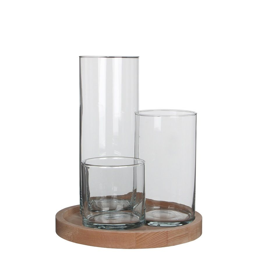 Jarr n de cristal cil ndrico para flores base de madera for Jarron cristal decoracion