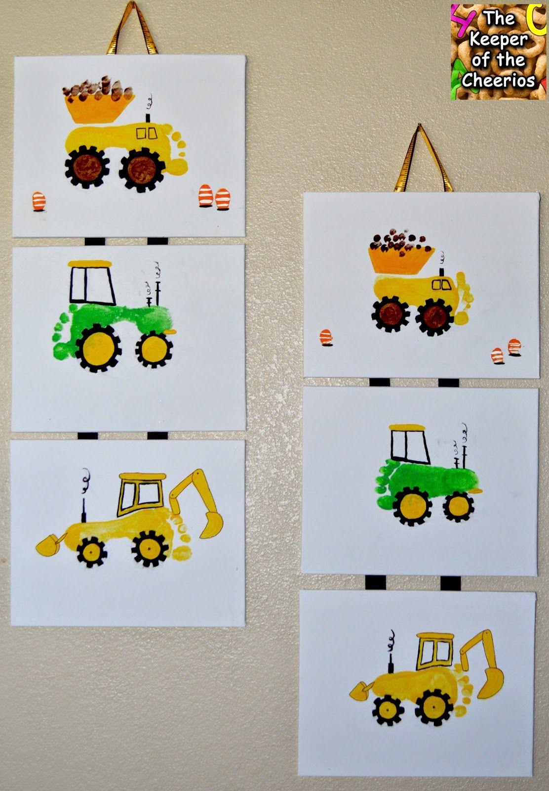 Fußabdruck - Bagger, Traktor... | Bastelideen mit Kindern ...
