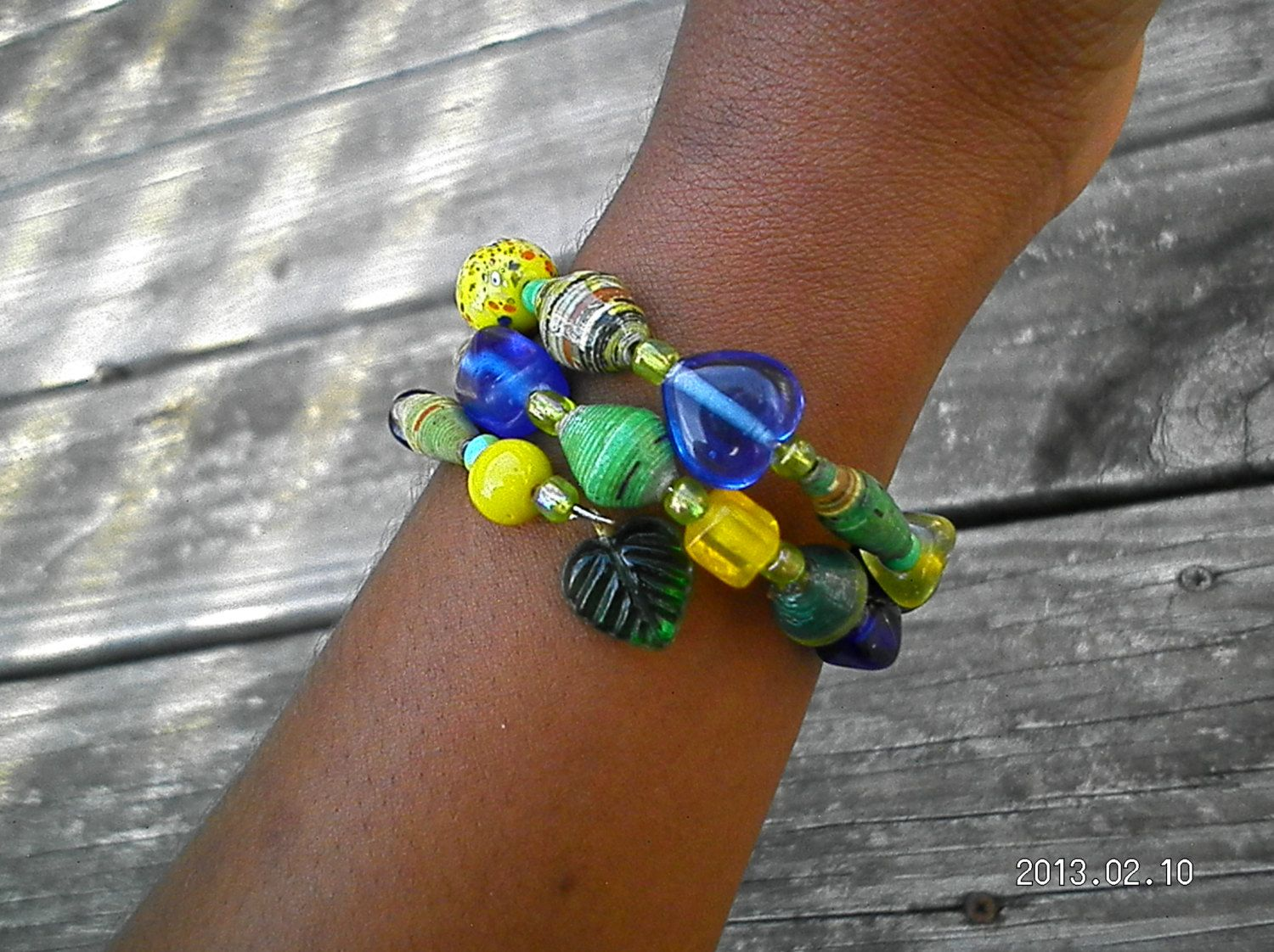 Yellow and Blue Make Green bracelet