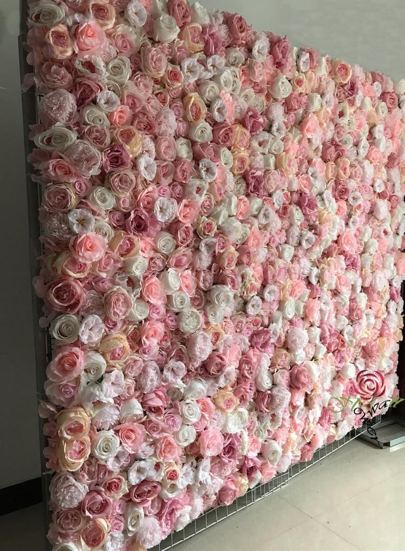 PRINTED Pink Floral Vinyl Backdrop BabyBridal Showers or Birthdays Personalized Printed Shipped Choose Your Size For Weddings