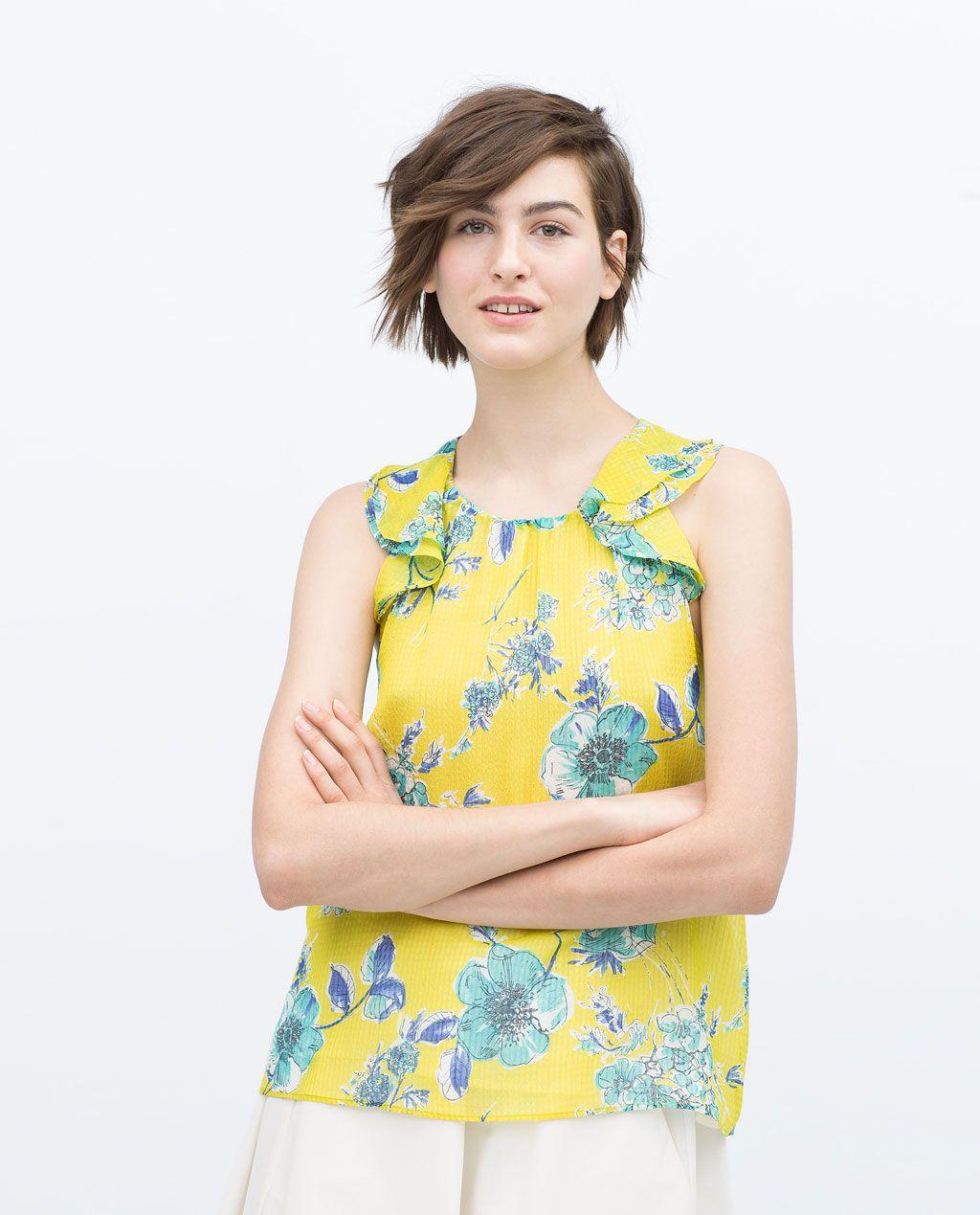 ZARA MUJER TOP ESTAMPADO VOLANTES | Moda para mujeres