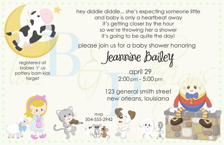 Nursery Rhyme Baby Shower Mother Goose Invitation Digital