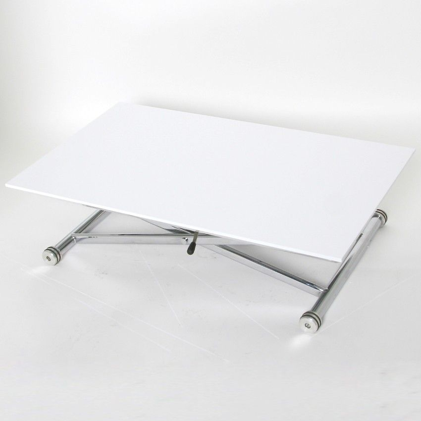 Height adjustable coffee table white glass chrome for Adjustable coffee table