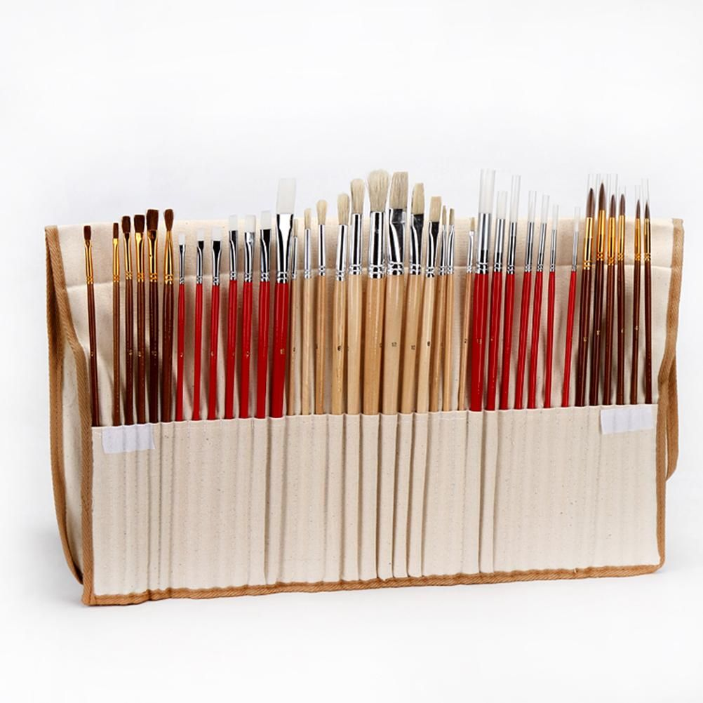 Synthetic Hair Art Brushes 38 Paint Brush Set with Canvas