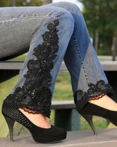 Love this look - and it could totally be a  DIY project! What a way to dress up jeans ,,, just add LACE of choice to go up the sides and around the hem of Jeans. Use fabric glue if you don't sew... be done in no time !