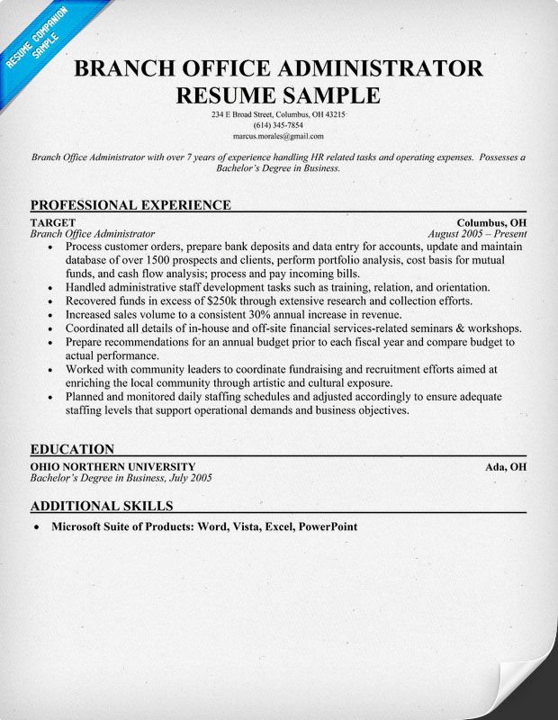 Branch Office Administrator Resume (resumecompanion) Resumes - office administrator resume