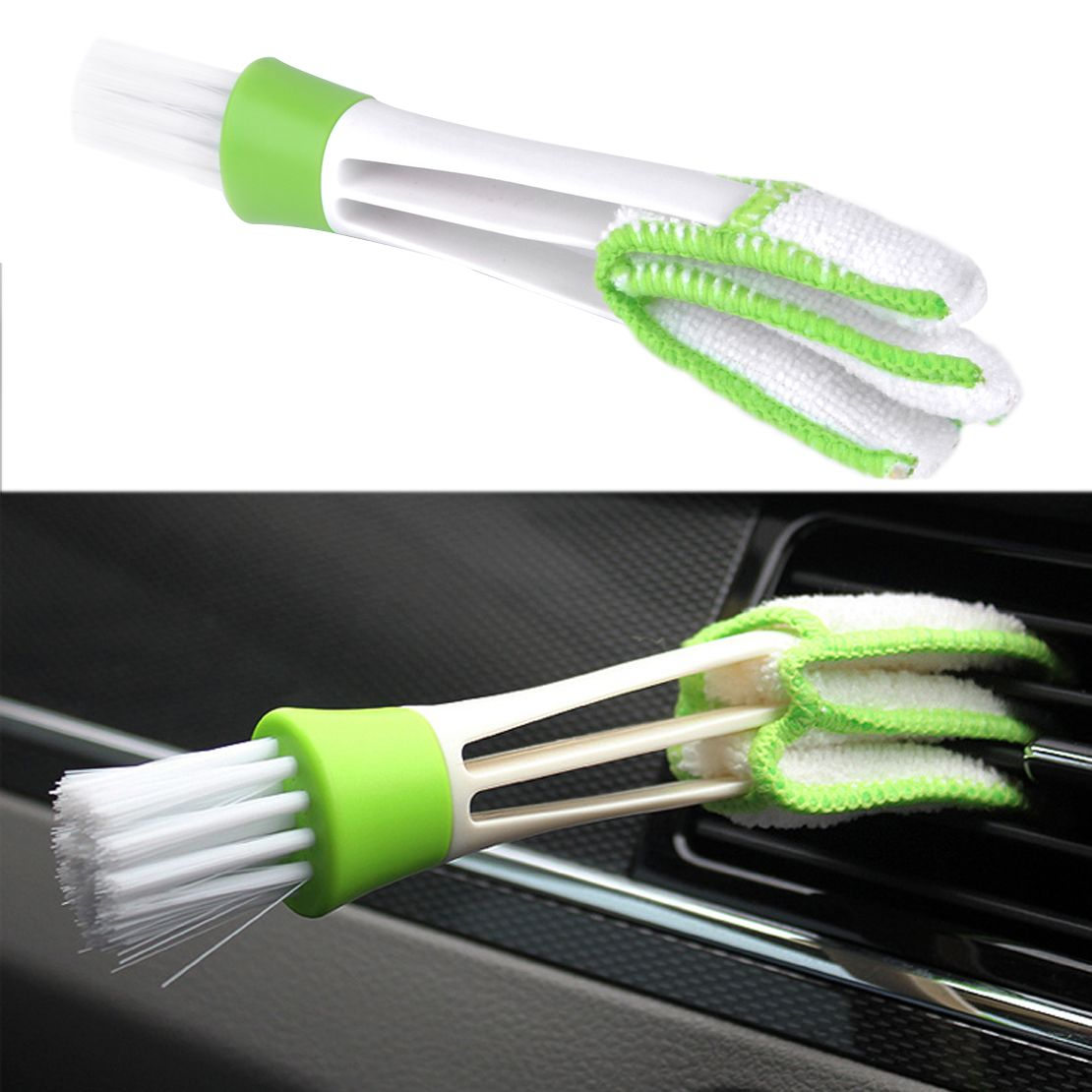 1Pc Double-Head Clean Brush Indoor Air-condition Outlet Window Cleaning Tool