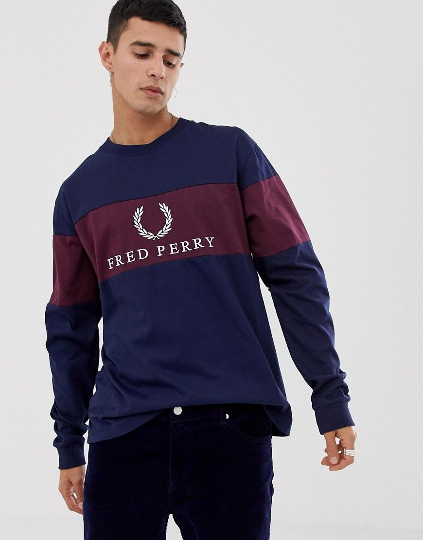 0d1ed1d4e FRED PERRY SPORTS AUTHENTIC CONTRAST PANEL SWEATSHIRT IN NAVY - NAVY.   fredperry  cloth