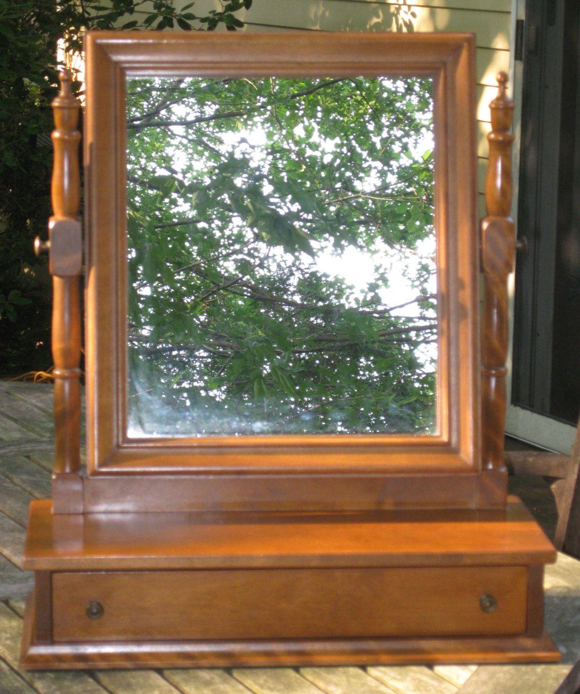 Ethan Allen Maple Pediment Mirror Wall Dresser Mirror Classic