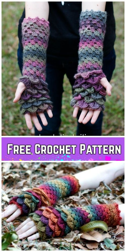Crochet Dragon Scale Gloves Free Pattern | Mitones o Guantes sin ...