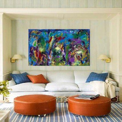 Big Abstract Blue Acrylic Art Rectangle Painting Living Room Prepossessing Living Room Paintings Design Ideas