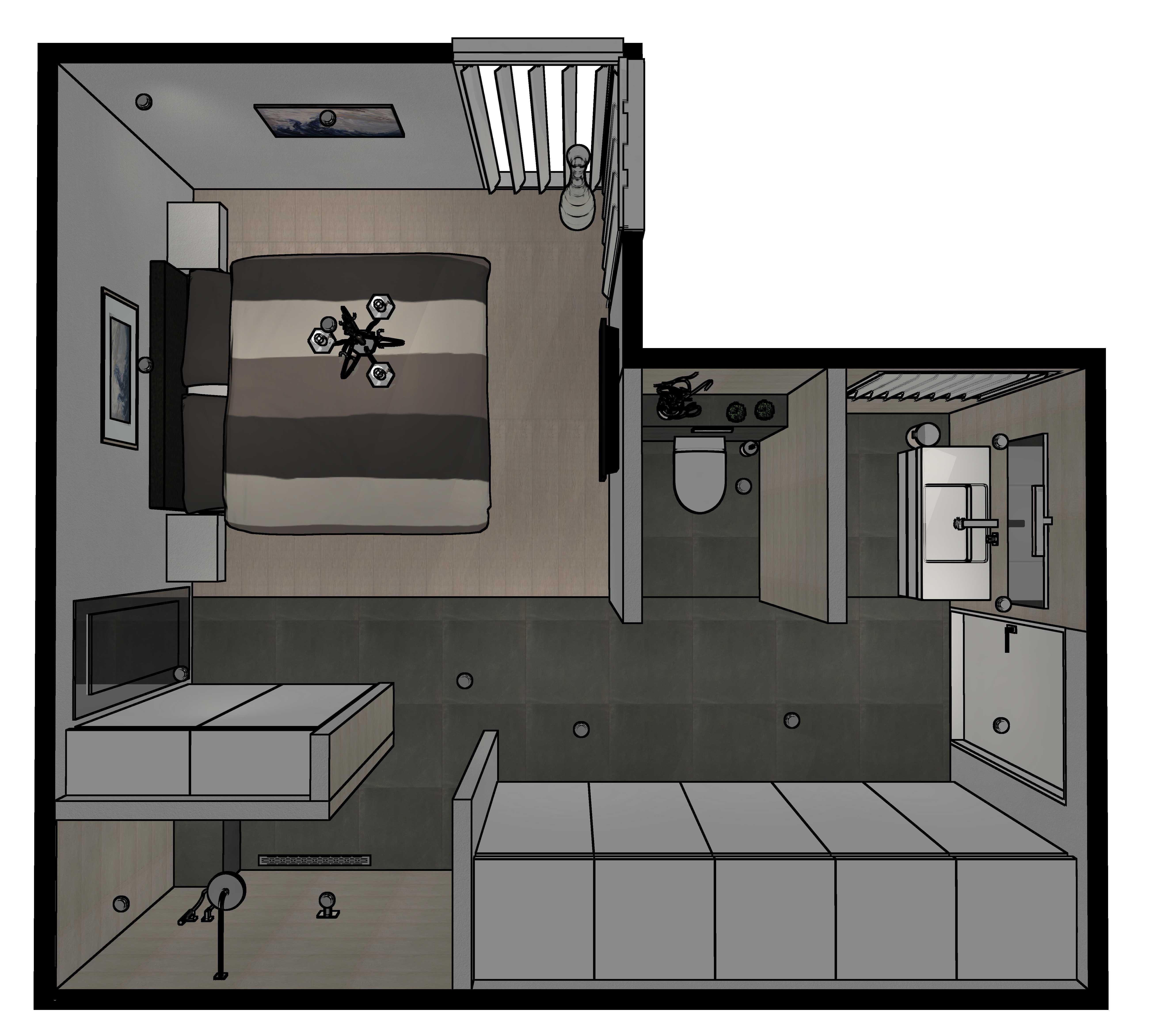 een 3d badkamer ontwerp gemaakt door sanidrome om zo alvast de
