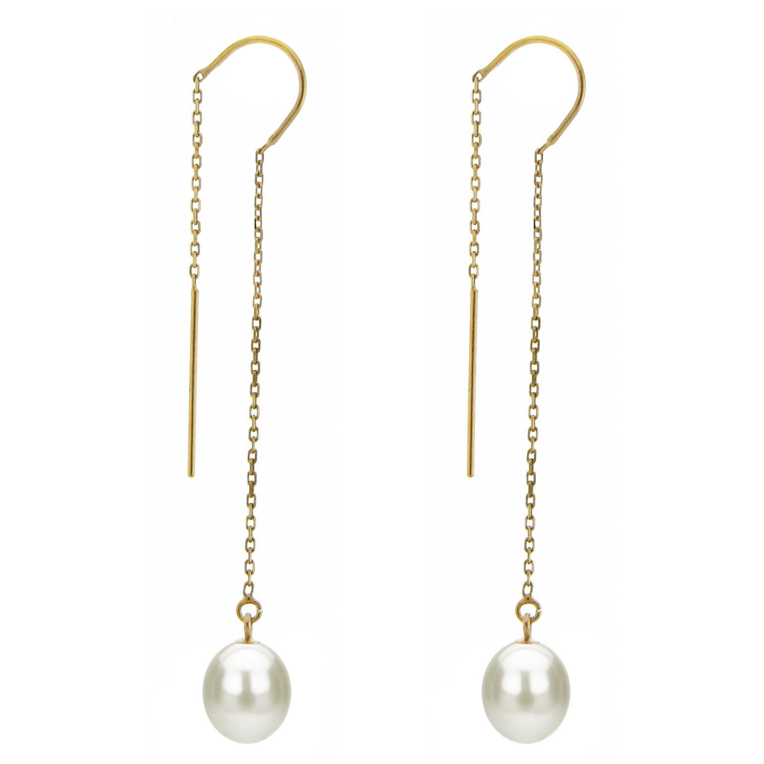 DaVonna 14k Yellow Gold 78mm White Cultured Freshwater
