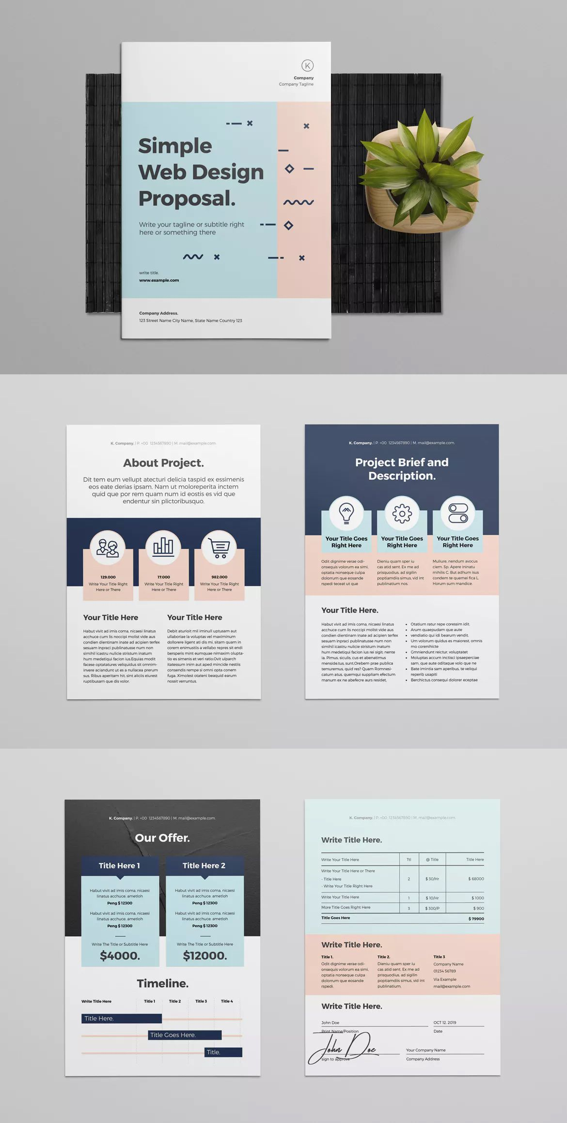 Web Design Proposal Template Indesign Indd Cmyk 300 Dpi Print