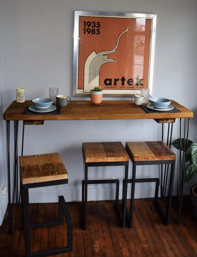 Tall Reclaimed Wood Industrial Hairpin Legs Kitchen Breakfast