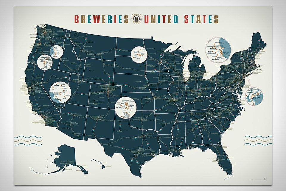 Breweries of the United States Map Posters That Rock
