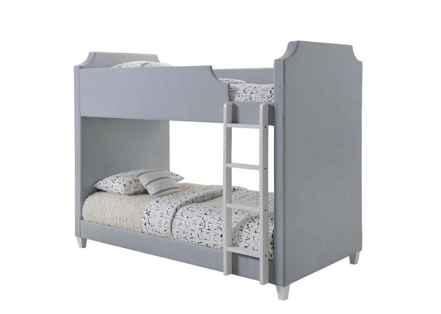460382 Gilroy Grey Fabric Twin Over Twin Bunk Bed Bunk Beds With
