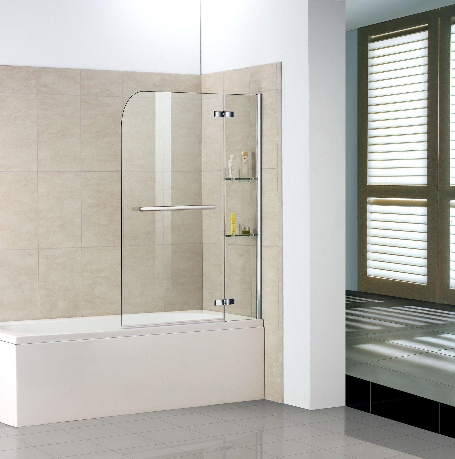 Badewanne 2 tlg. Faltwand Duschwand Drehen 90