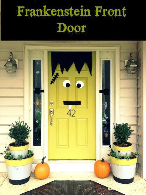 Halloween Door Decor. Frankenstein! Made from simple felt my kids stinkinu0027 loved this idea!! & Halloween Door Decor. Frankenstein! Made from simple felt my kids ...