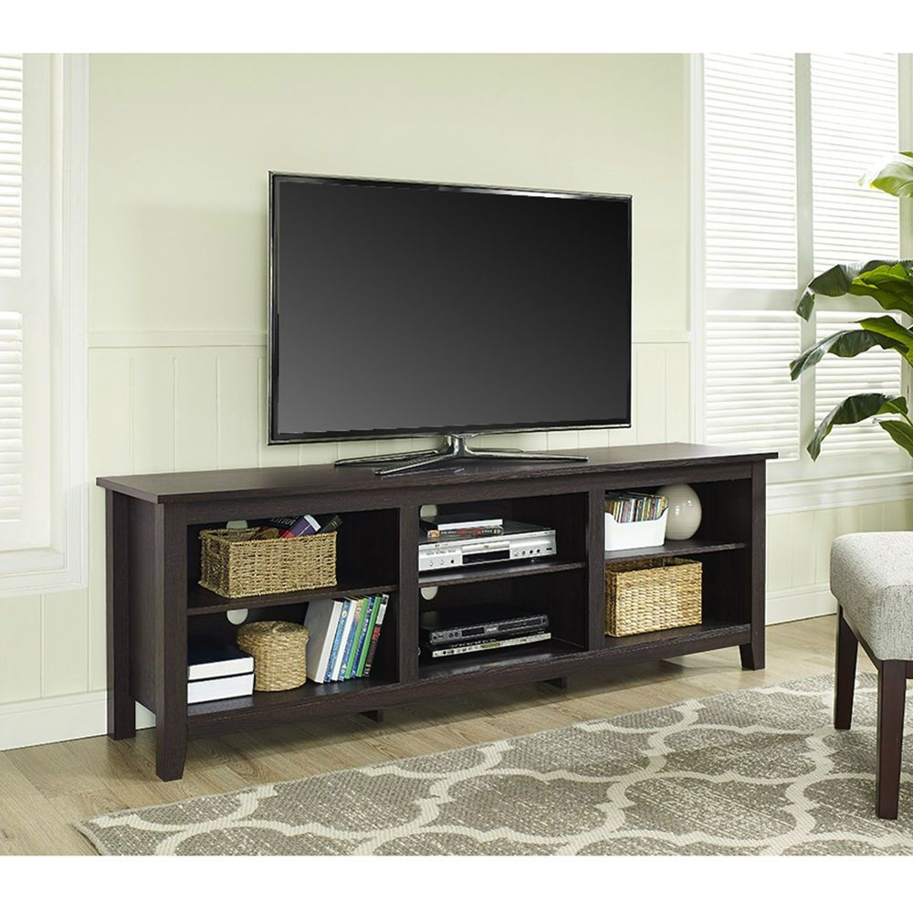 Tv Stand Cabinet Console Large Open Dvd Media Storage Shelves Wood Espresso 70 Wef Contemporary Bedroom Tv Stand Tv Stand Console Wood Corner Tv Stand