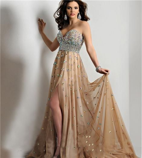 2015 Prom Dresses New Arrival Gold Strapless Beaded Crystals Formal Long Split Front Rhinestones Evening Gowns