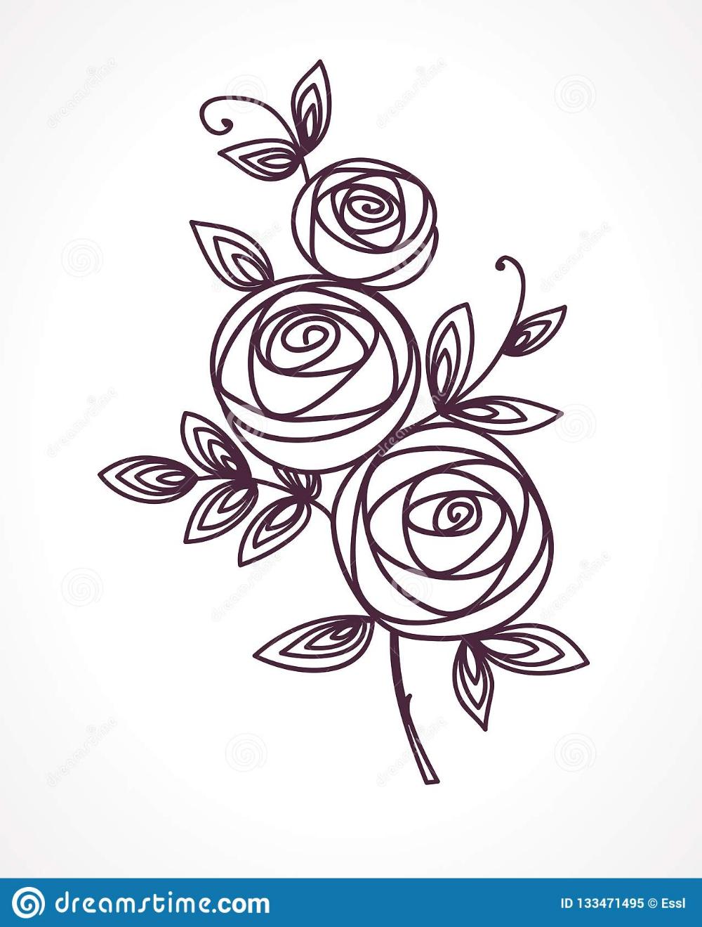 Rosas Dibujo Estilizado De La Mano Del Ramo De La Flor Flores Para Dibujar Dibujos Boda Ramos De Flores De Boda