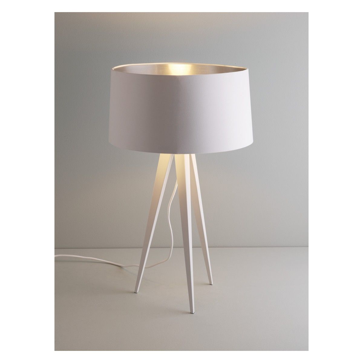 Yves white metal tripod table lamp base tripod table lamp table yves white metal tripod table lamp base geotapseo Images