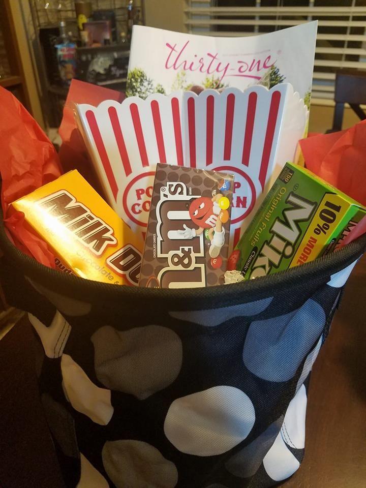 Thirty One Mini Storage Bin Movie Night Gift Basket Thirty One