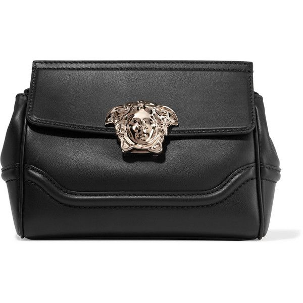 Versace Palazzo Empire medium leather shoulder bag (15 785 SEK) ❤ liked on Polyvore featuring bags, handbags, shoulder bags, versace, black, genuine leather purse, versace handbags, versace purses, leather shoulder bag and leather purses