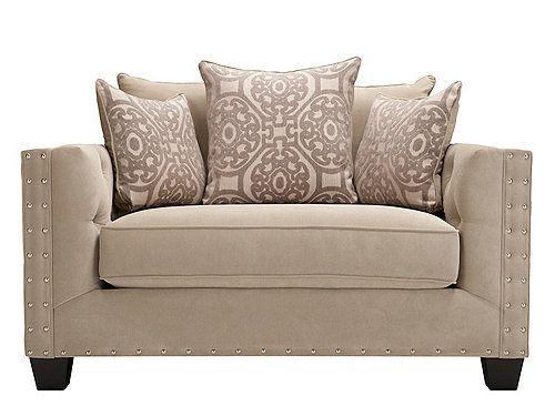 Cindy Crawford Calista Microfiber Chair And A Half Nailhead Furniture Mattress Furniture Living Room Chairs