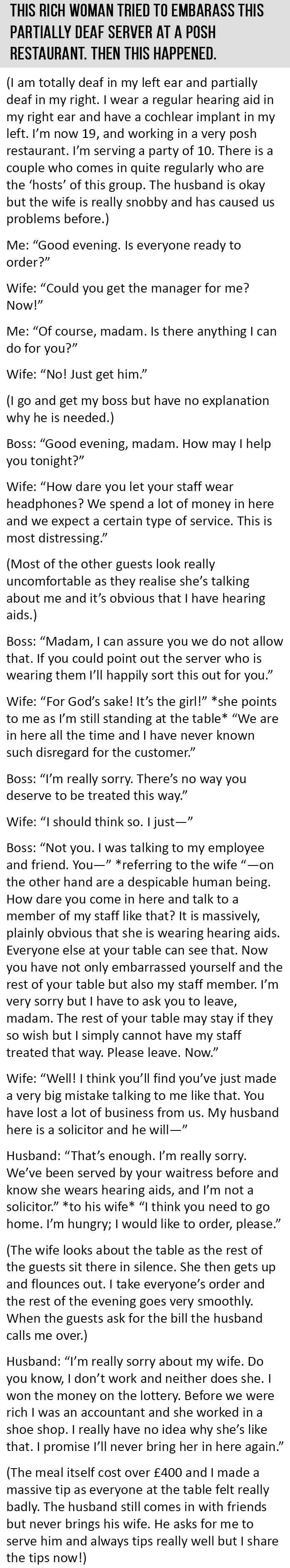 Rich Woman Tries To Embarrass This Partially Deaf Server