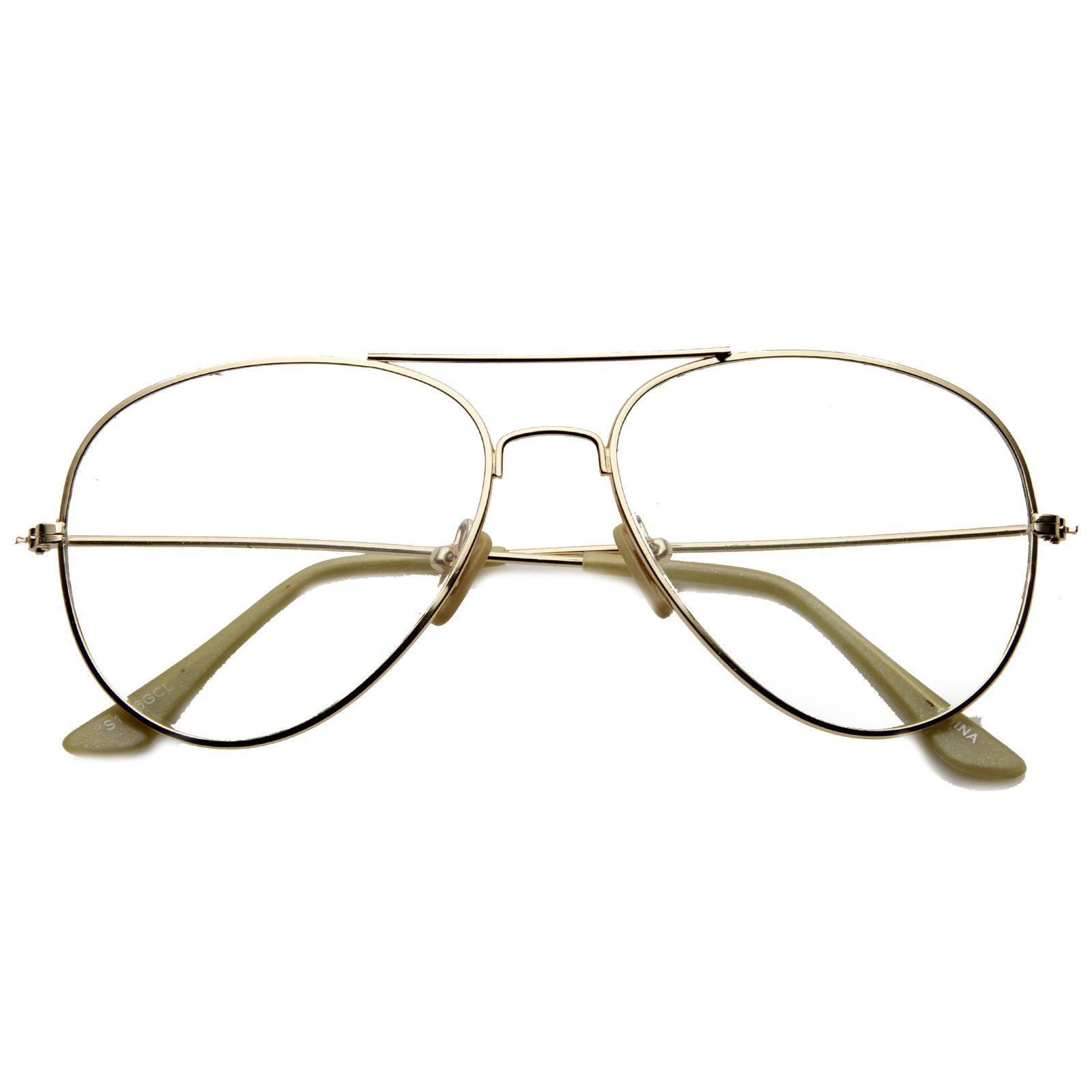 8e1b75a5f22 Sunglassla Nickel Plated Wire Frame Basic Metal Clear Lens Aviator Glasses   ebay  Fashion