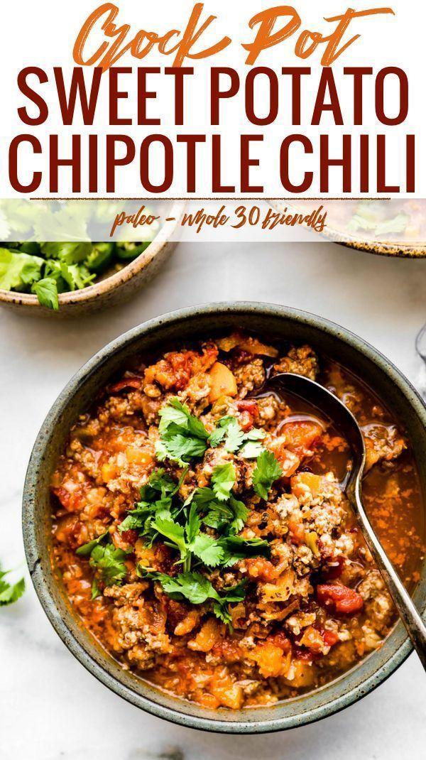 Crock Pot Sweet Potato Chipotle Chili {Paleo} - Cotter Crunch #healthycrockpots