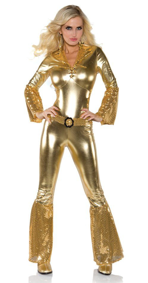 Women's Gold Disco Jumpsuit Costume - Candy Apple Costumes ...