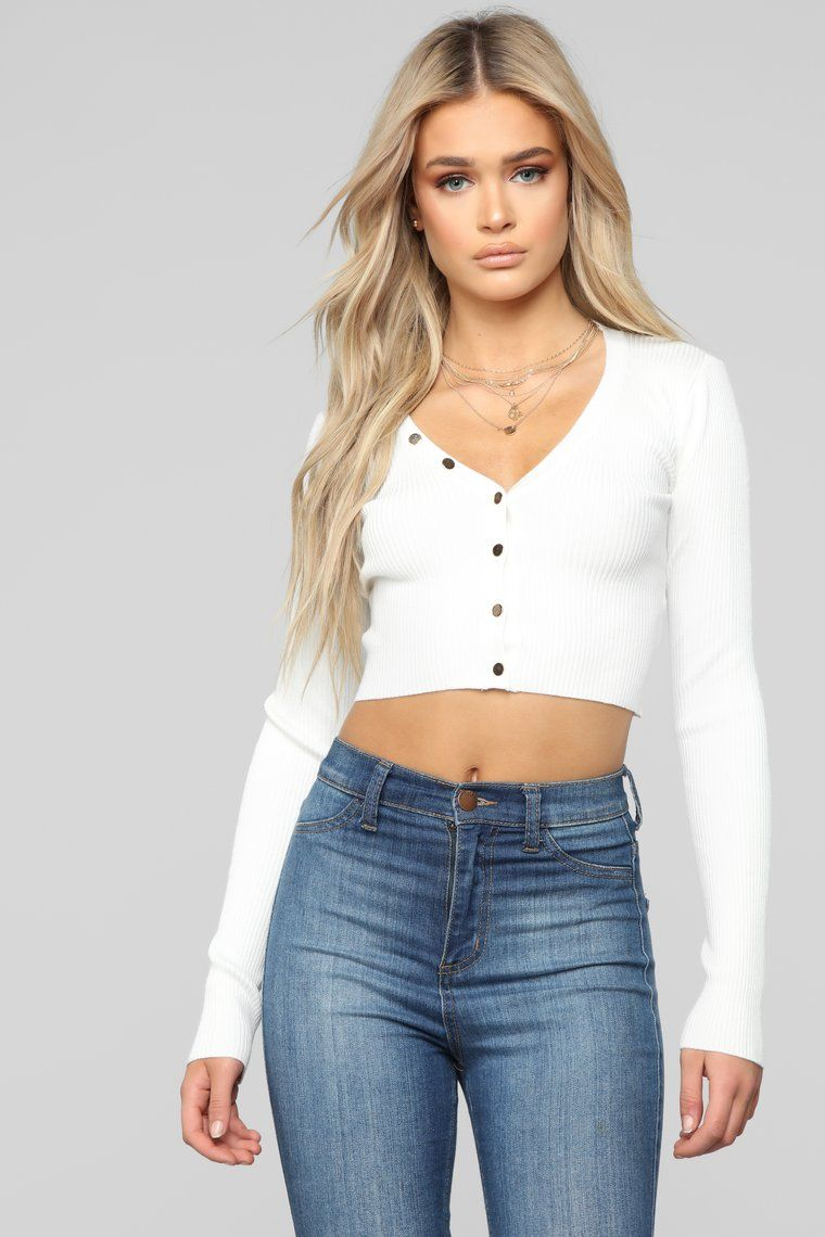 e80d5718648 Button Love Ribbed Top - White in 2019   Shopping cart‼️   Ribbed ...