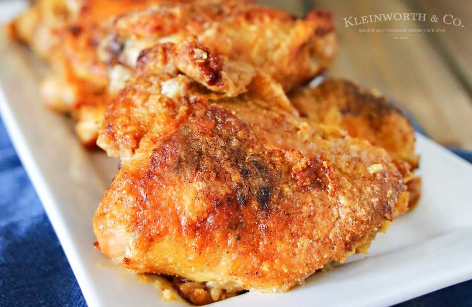 Simplify your dinner with this Oven Fried Chicken that comes out crispy & delicious in about an hour. Less mess & clean up, the best baked chicken recipe.