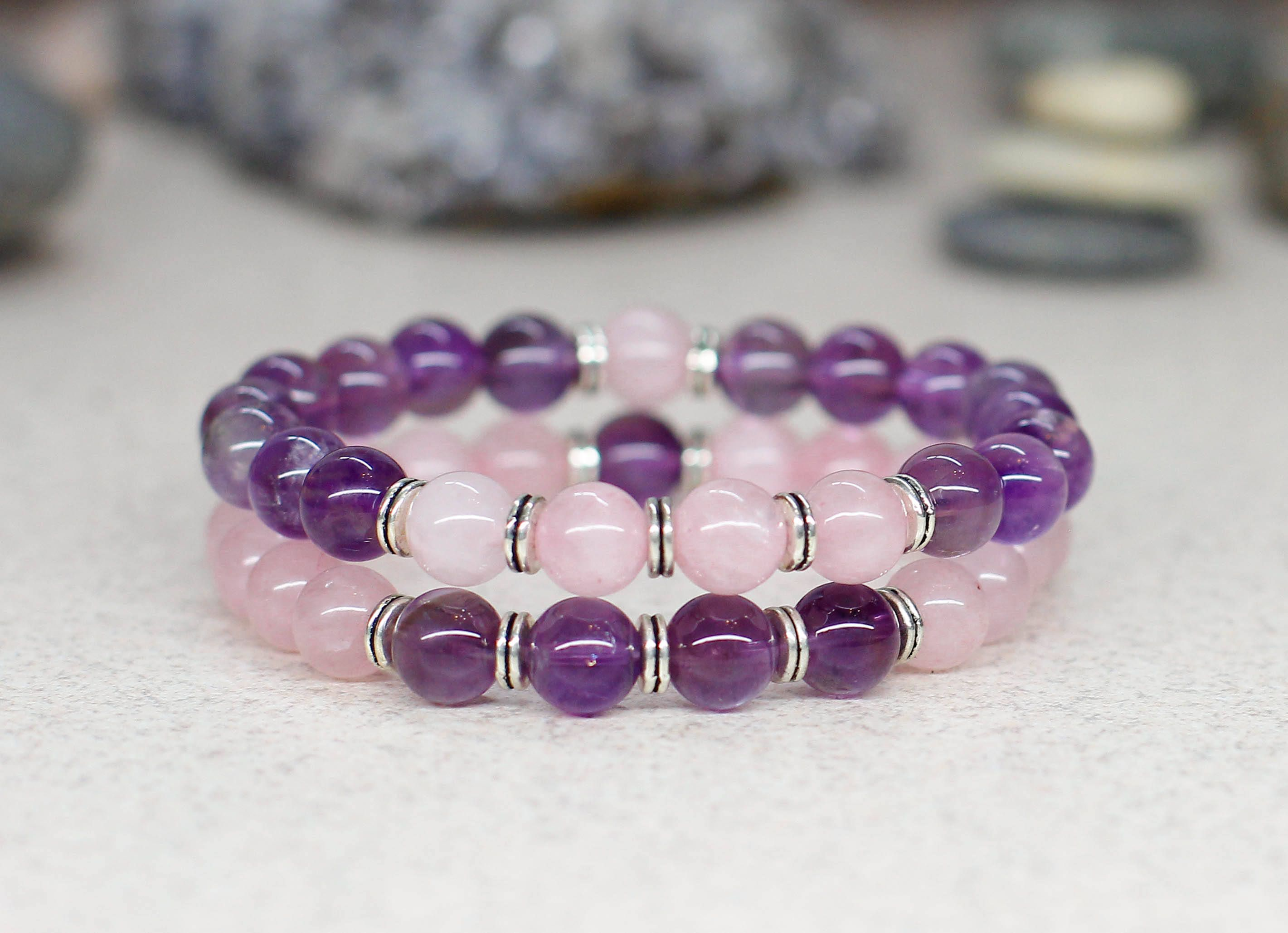 Distance Gifts For Sister Rose Quartz Crystal Bracelet Amethyst Set Stackable Bracelets Women Healing And Stone Jewelry