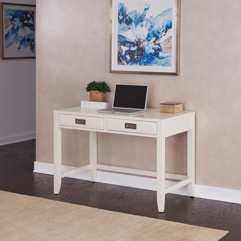 Homestyles 44 in white rectangular 2 drawer writing desk