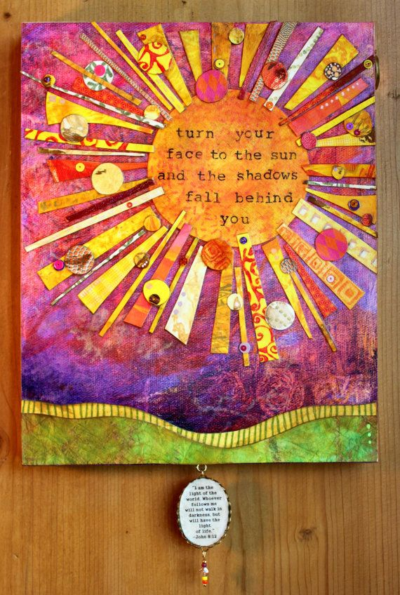 Handmade Inspirational Art Sun Mixed Media Pennies Art