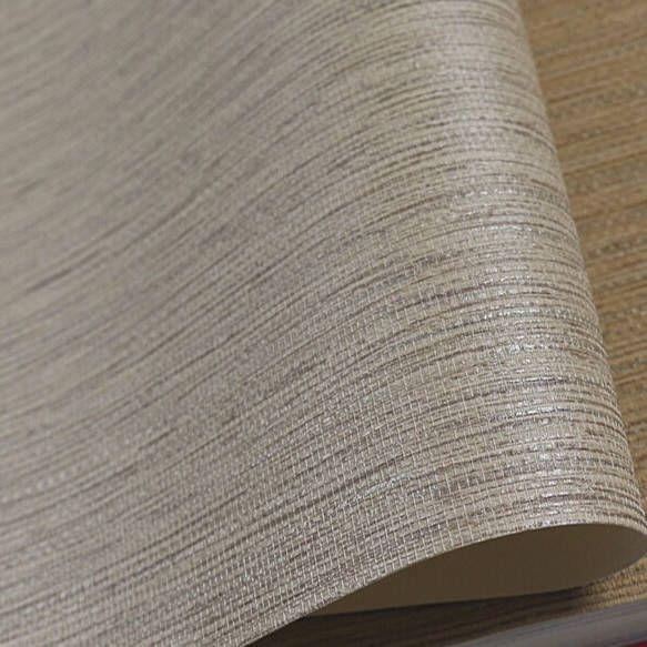 Realistic Faux Grasscloth Textured Wallpaper Metallic