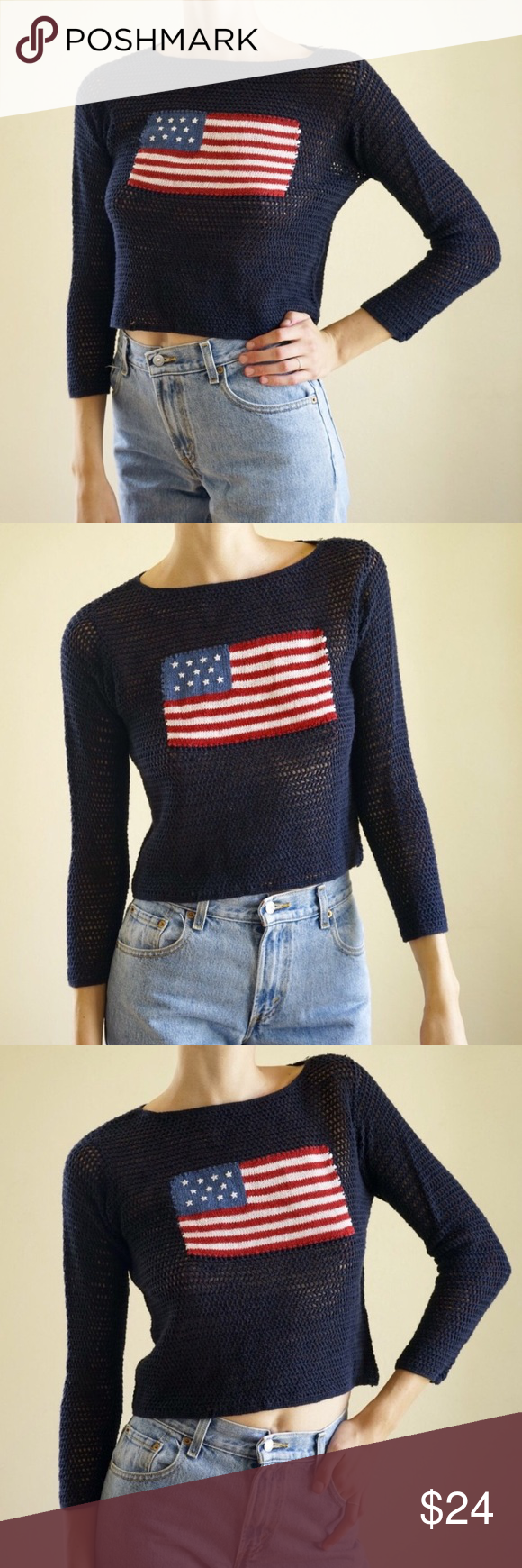 LAST CHANCE Vintage American flag cropped sweater | Flags, Vintage ...