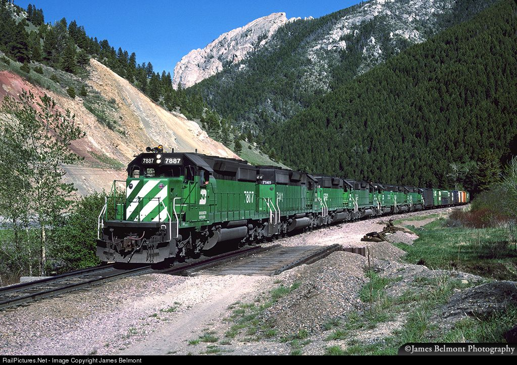 RailPictures.Net Photo: BN 7887 Burlington Northern Railroad EMD SD40-2 at Rocky Creek, Montana by James Belmont