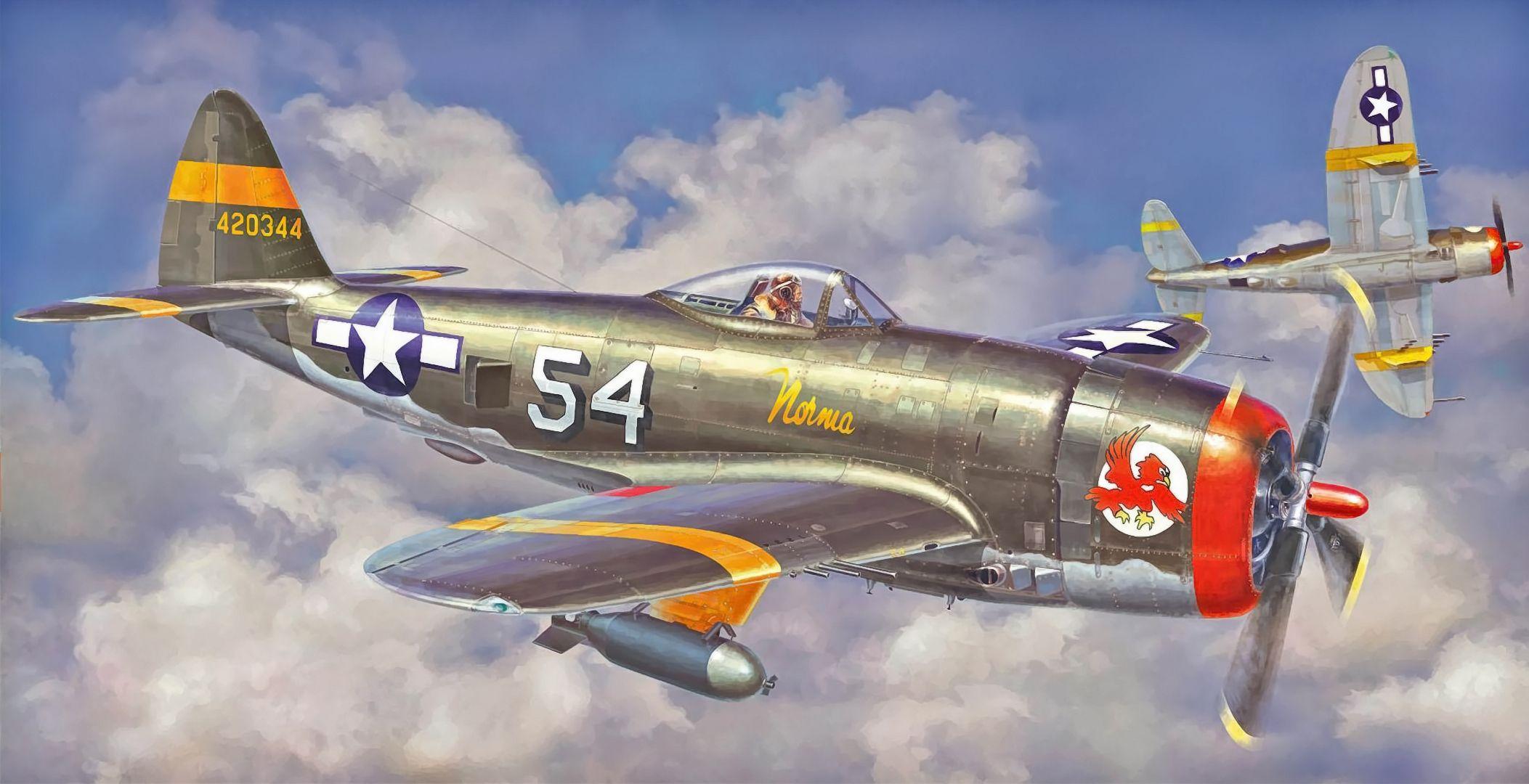 Обои war, painting, aviation, ww2, aircraft, air combat, P 47 thunderbolt, drawing, dogfight. Авиация foto 13