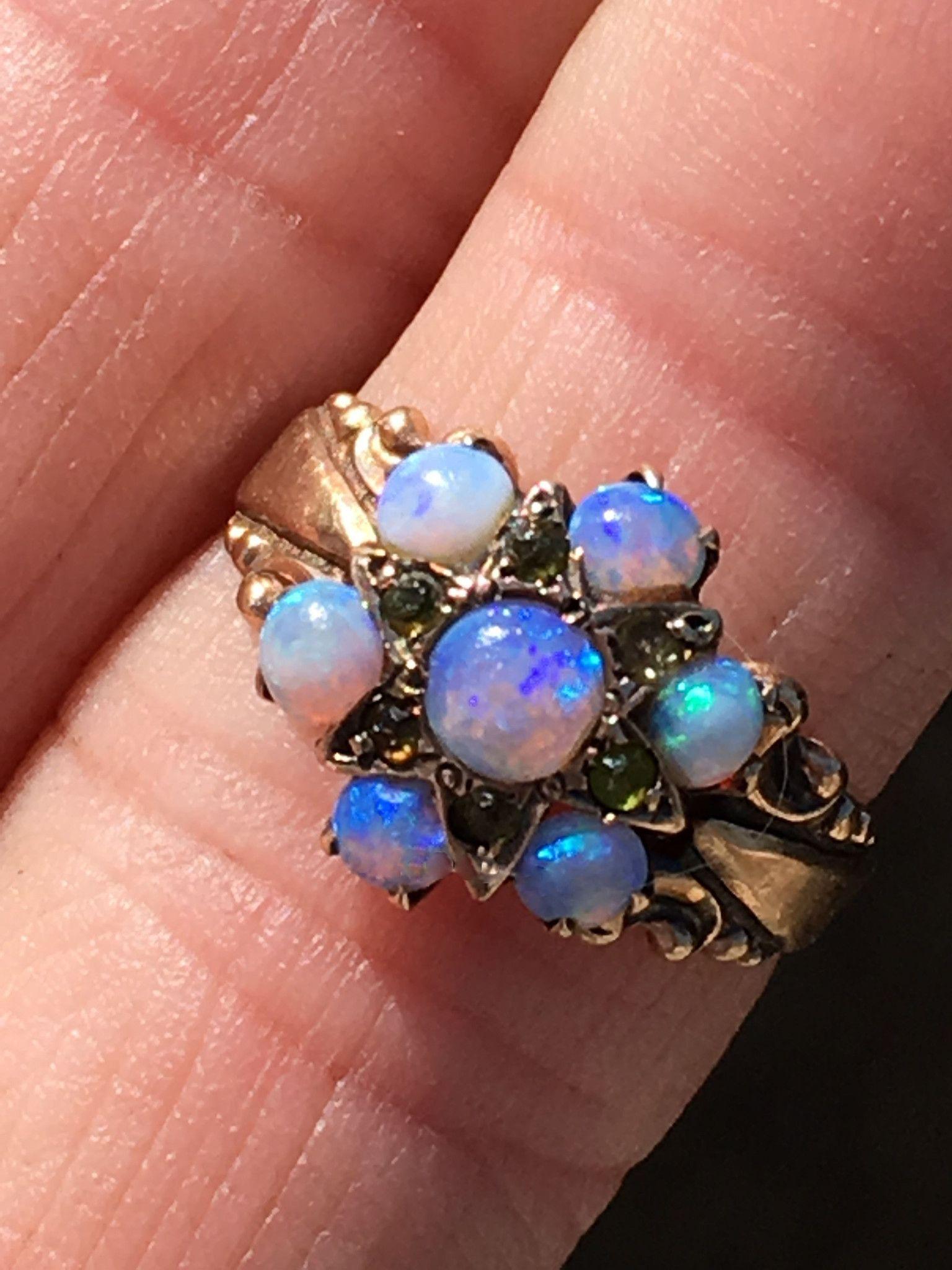 Opal Ring Victorian Era 10K Gold White gold engagement
